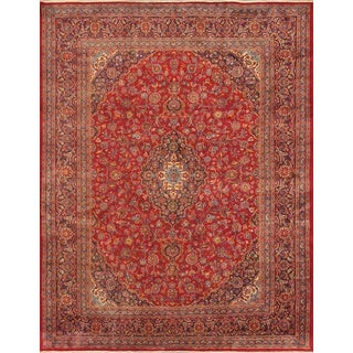ecarpetgallery Hand Knotted Persian Mashad Red Wool Rug (9'8 x 12'9)
