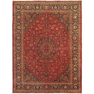 ecarpetgallery Persian Mashad Blue/ Red Wool Rug (9'10-inch x 13'3-inch)