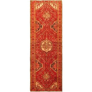 ecarpetgallery Persian Ardabil Brown/ Red Wool Rug (3'7-inch x 10'4-inch)