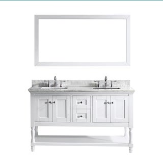 Julianna 60-inch Double Vanity White Marble Top with Mirror