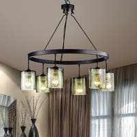 Mariana Antique Black Finish 6-Light Glass Chandelier