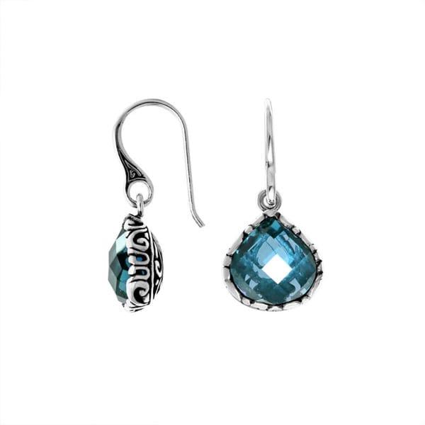 Handmade Sterling Silver Bali Faceted Gemstone Teardrop Dangle Earrings (Indonesia)