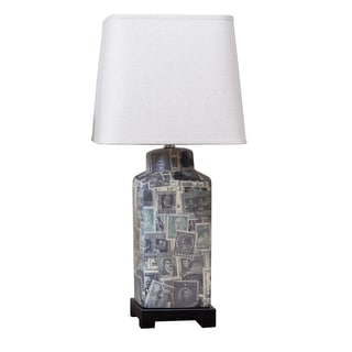 Somette Outlet Nostalgic Stamps Rectangular Table Lamp