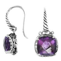 Handmade Sterling Silver Bali Faceted Gemstone Dangle Earrings (Indonesia)