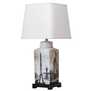 Bombay Outlet Parisian Scenery Rectangular Table Lamp