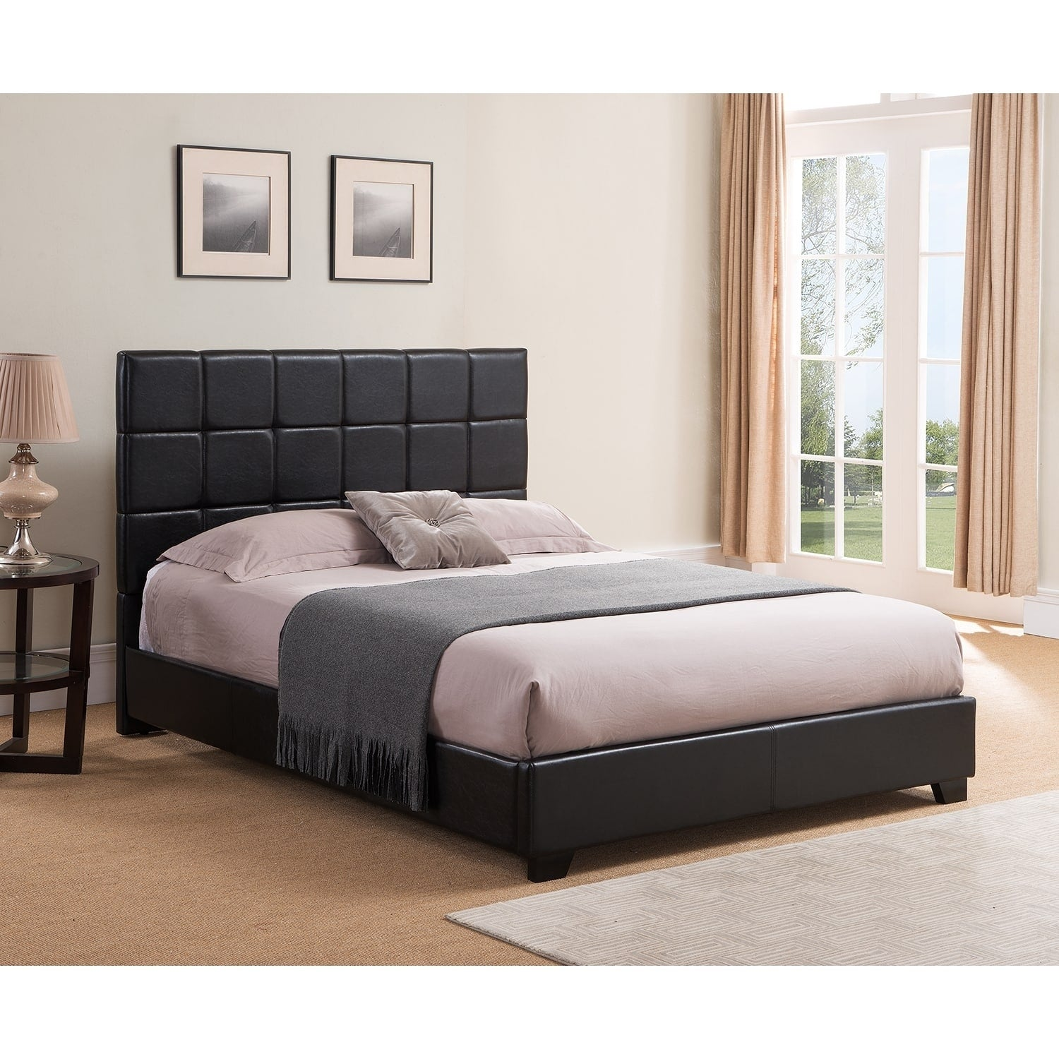 Shop Kenville, Queen Size, Black Leather Platform Bed - Free ...