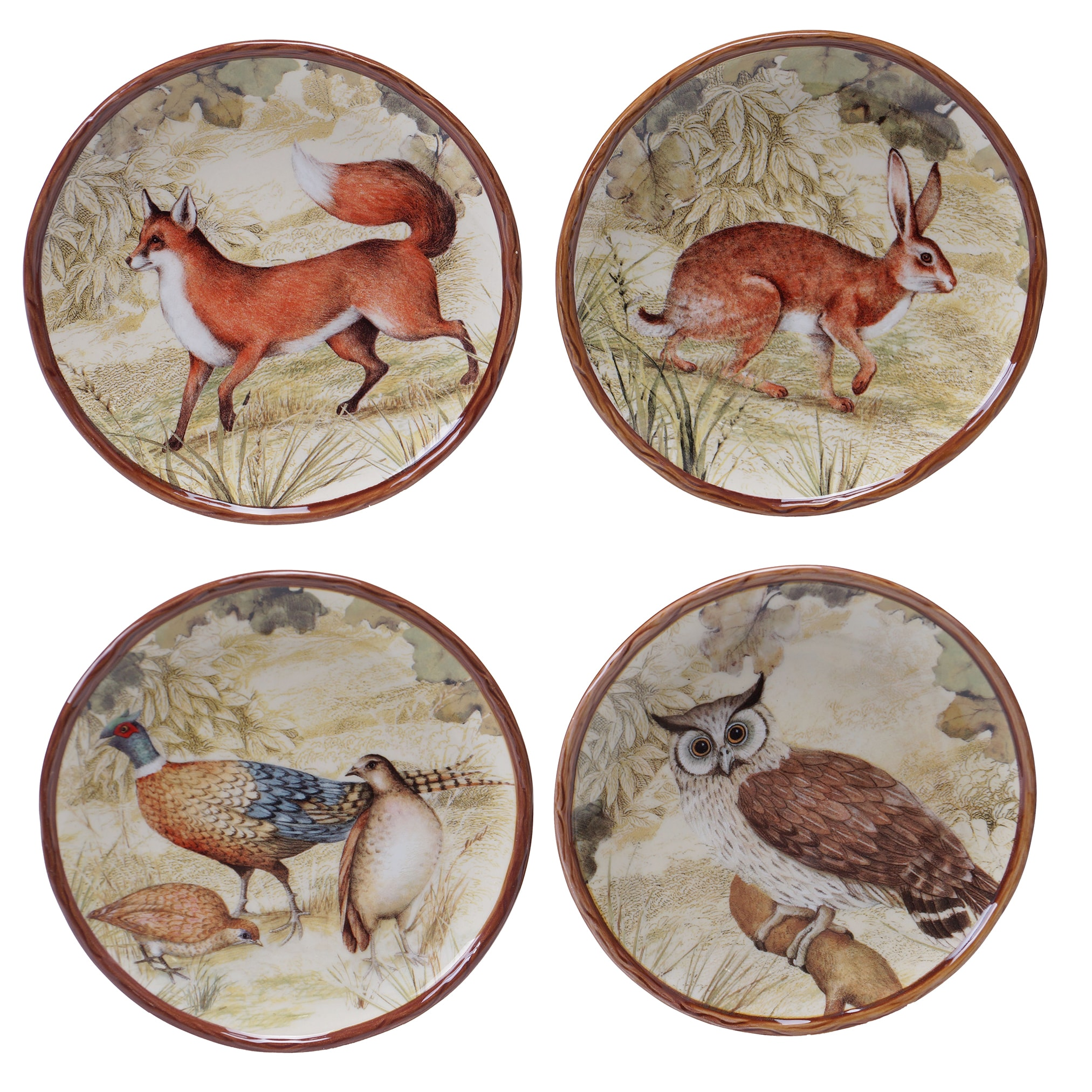 Certified Intl Rustic Nature 6-inch Canape Plates (Set of...