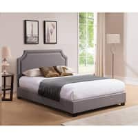 Rize Brossard King Size Grey Upholstered Platform Bed