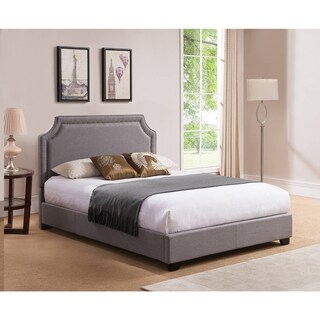 Brossard, King Size, Grey Upholstered Platform Bed