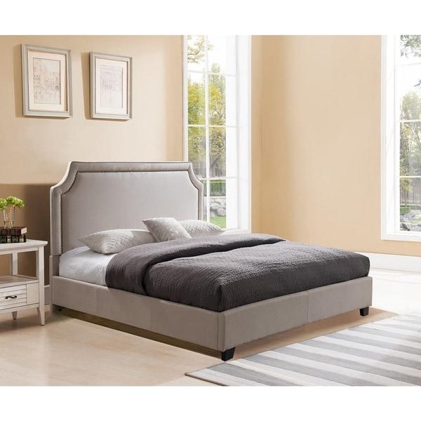 Brossard King Size, Taupe Upholstered Platform Bed