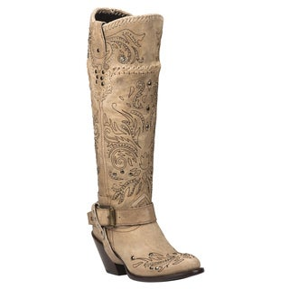 Black Star Andromeda Bone Women's Leather Fashion Western Boots