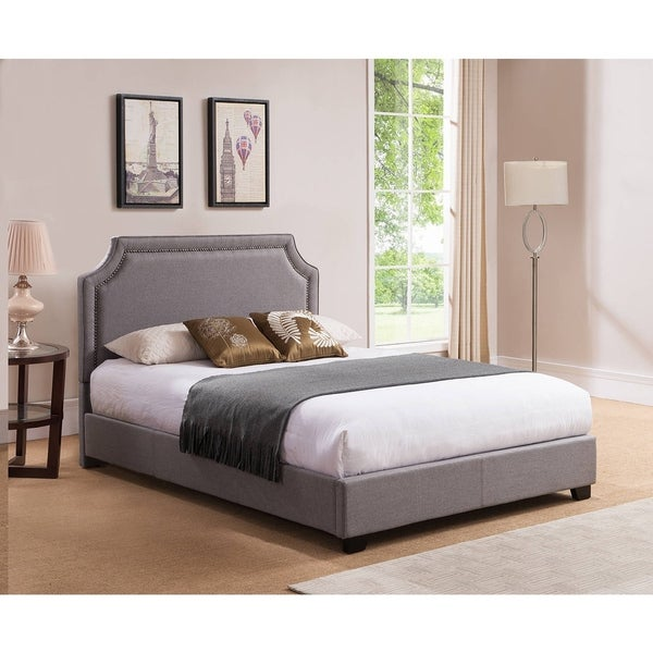 Rize Brossard Queen Size Grey Upholstered Platform Bed