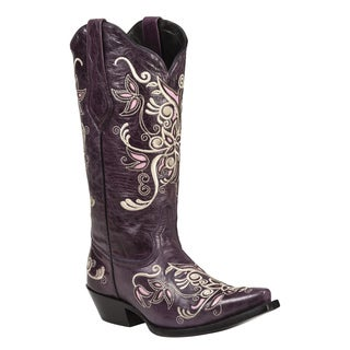 Black Star Costilla Purple Women's Leather Cowboy Boots