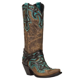 Black Star Eureka Brown and Turquoise Women's Leather Cowboy Boots