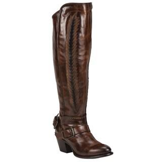 Black Star Hydra Brown Women's Leather Fashion Western Boots