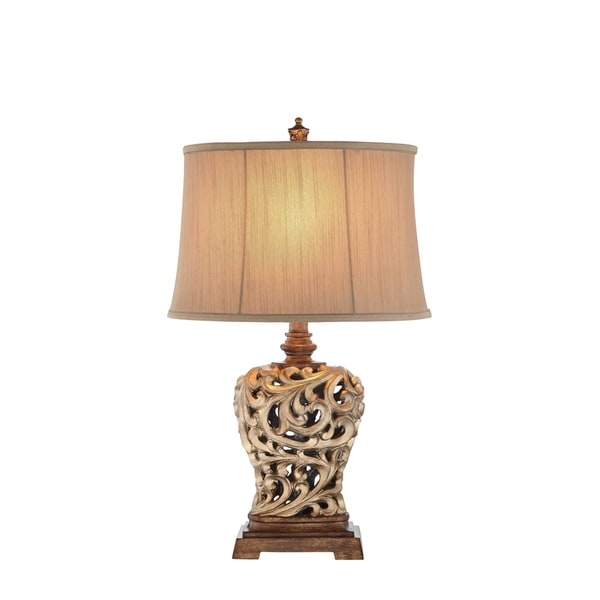 Catalina Piper 19085-001 3-Way 28.5-Inch Open Scroll Table Lamp and Soft Sided Shantung Shade, Bulb Included