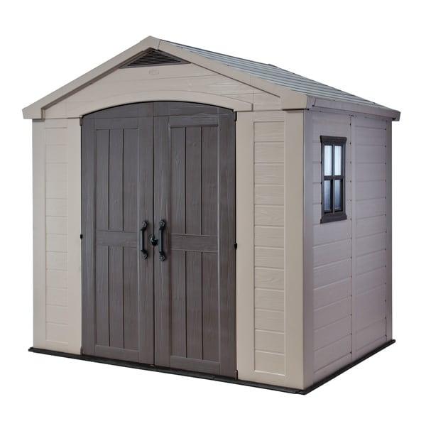 Keter factor large 8 x 6 ft resin outdoor yard garden - Brown plastic garden sheds ...
