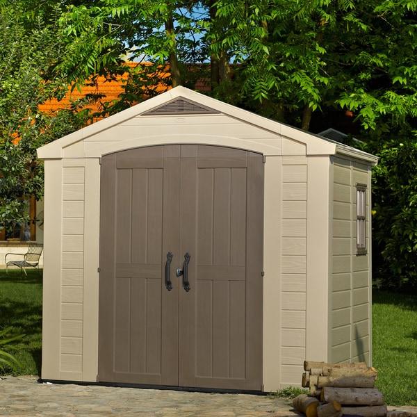 Resin Outdoor Yard Garden Storage Shed & Shop Keter Factor Large 8 x 6 ft. Resin Outdoor Yard Garden Storage ...