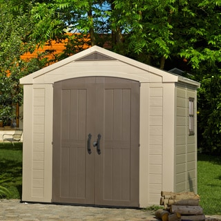 Keter Factor Large 8 x 6 ft. Resin Outdoor Yard Garden Taupe/ Brown Storage Shed