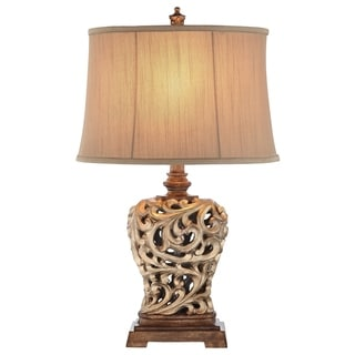 Catalina 19085-000 3-Way 28.5-Inch Open Scroll Table Lamp and Soft Sided Shantung Shade