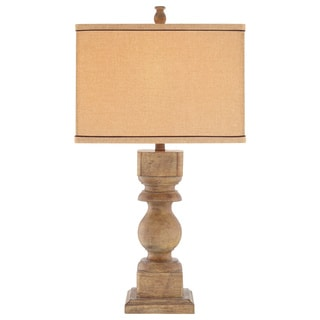 Catalina 19091-000 3-Way 30-Inch Distressed Faux Wood Table Lamp with Rectangular Linen Hardback Shade