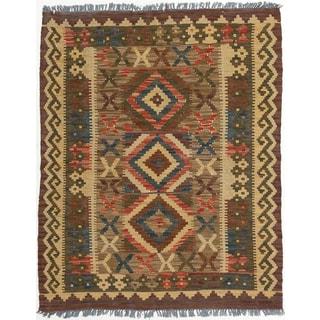 Ecarpetgallery Handmade Anatolian Kilim Blue Red Wool Kilim Rug (3' x 3'9)