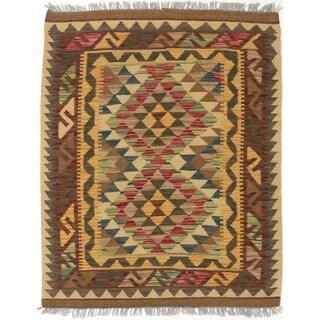 Ecarpetgallery Handmade Anatolian Kilim Orange Red Wool Kilim Rug (2'11 x 3'11)
