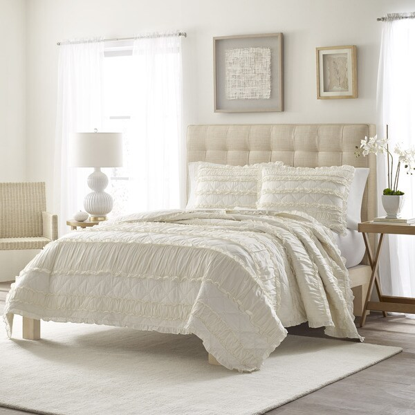 Stone Cottage Ivory Ruffled Cotton Quilt Set