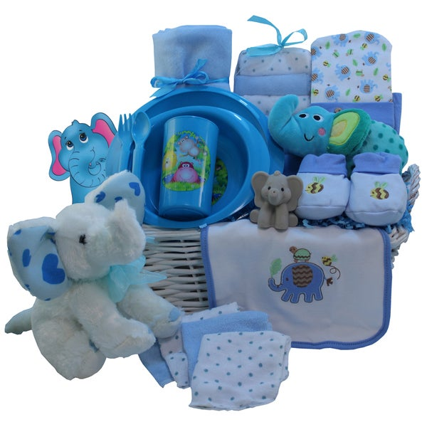b60f5b3ad710b Eli The Elephant Blue Baby Boy Gift Basket
