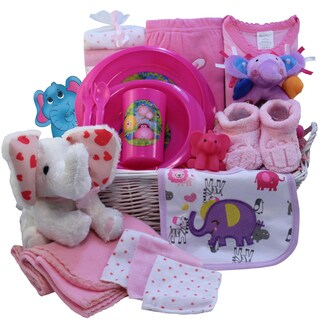 Ellie The Elephant Pink Baby Girl Gift Basket