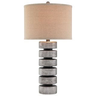 Catalina 19105-000 3-Way 31-Inch Contemporary Stacked Disc Table Lamp with Linen Drum Hardback Shade