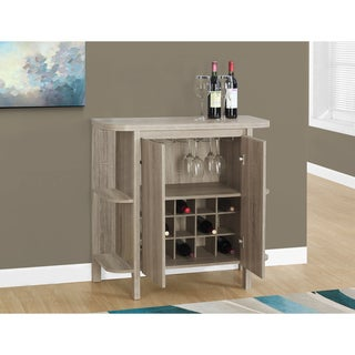 "Home Bar-36""H/Dark Taupe With Bottle And Glass Storage"