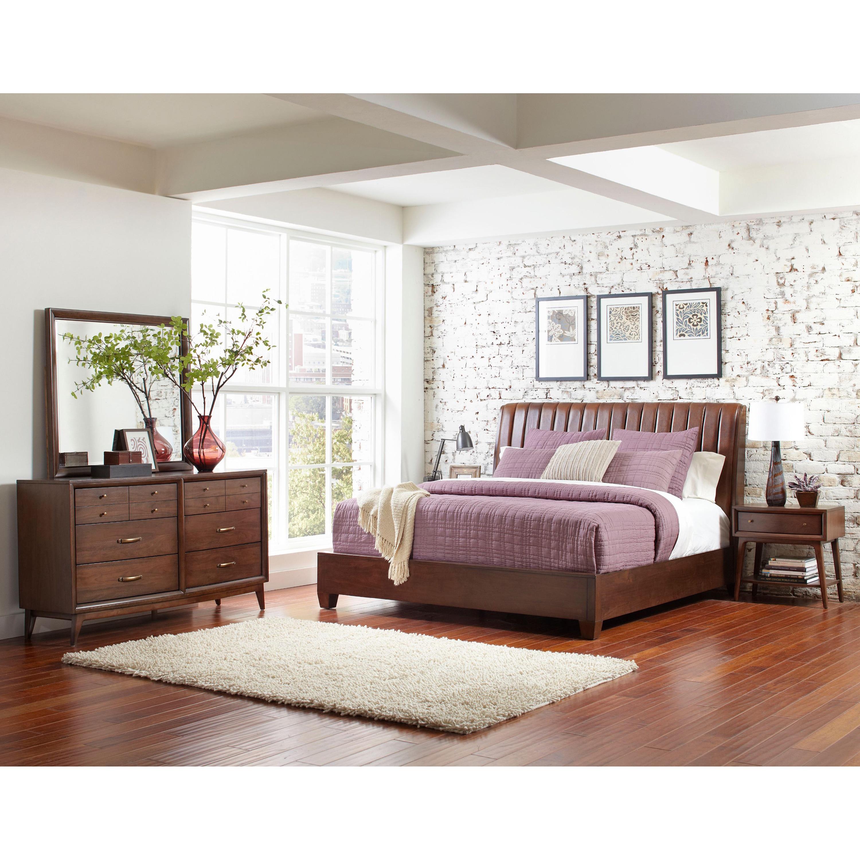 Ryder King-size Leather Sleigh Bed (Bedroom Set), Brown