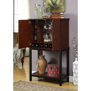 Furniture of America Dorma Transitional Cherry Diamond Tufted Wine Cabinet