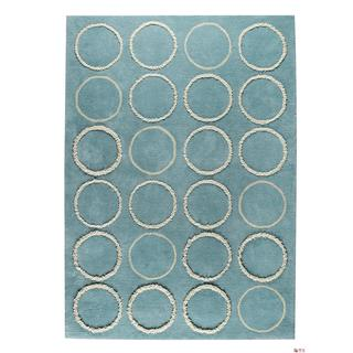 Indian Hand-tufted Bilba Turquoise Rug (4'6 x 6'6)