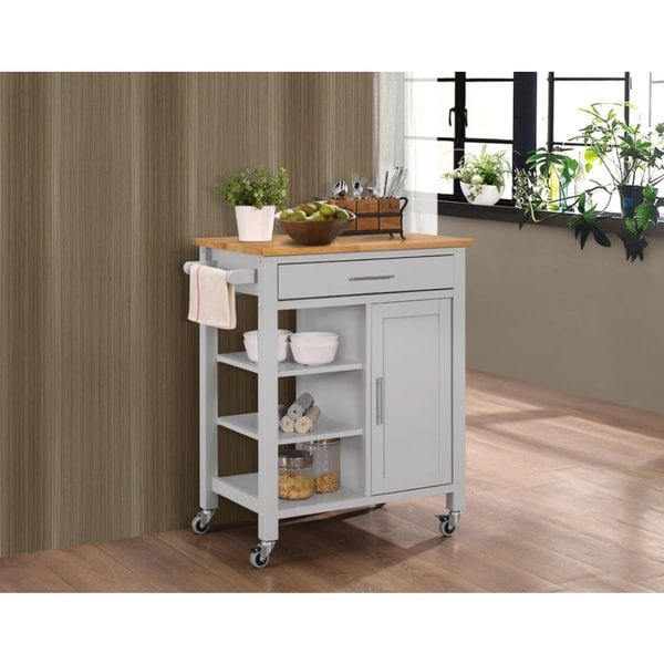 Porch & Den Scotsmeadow Solid Wood Kitchen Cart with Natural Wood Top