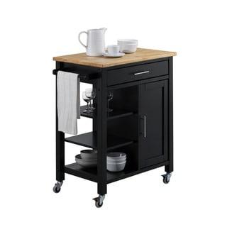 Edmonton Grey Kitchen Cart with Natural Top