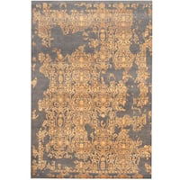 Herat Oriental Indo Hand-knotted Erased Wool and Silk Rug - 6'7 x 9'9