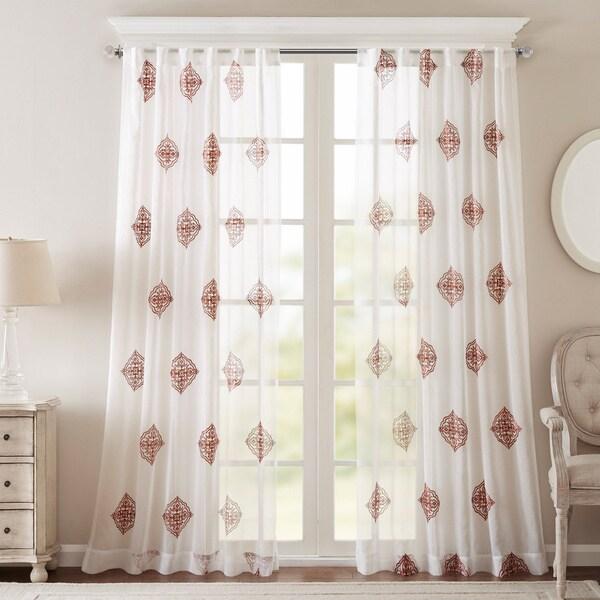Shop Bombay Massa Embroidered Sheer Window Curtain Panel