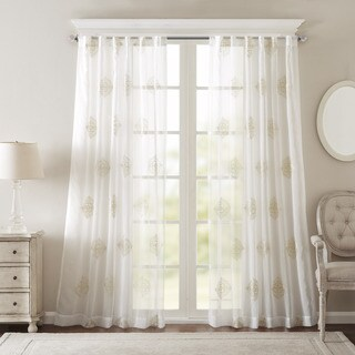 Bombay Massa Embroidered Sheer Window Curtain Panel