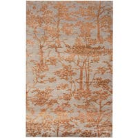Herat Oriental Indo Hand-knotted Erased Wool and Silk Rug - 6'5 x 10'