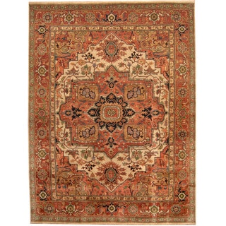Herat Oriental Indo Hand-knotted Tribal Serapi Wool Rug (8'10 x 11'10)