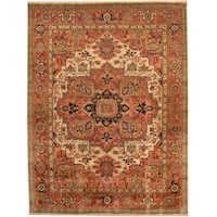 Herat Oriental Indo Hand-knotted Tribal Serapi Wool Rug (8'10 x 11'10) - 8'10 x 11'10