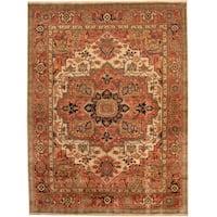 Handmade Herat Oriental Indo Tribal Serapi Wool Rug  - 8'10 x 11'10 (India)