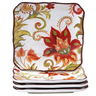 Certified International Spice Flowers 8.5-inch Salad/Dessert Plates (Set of 4)