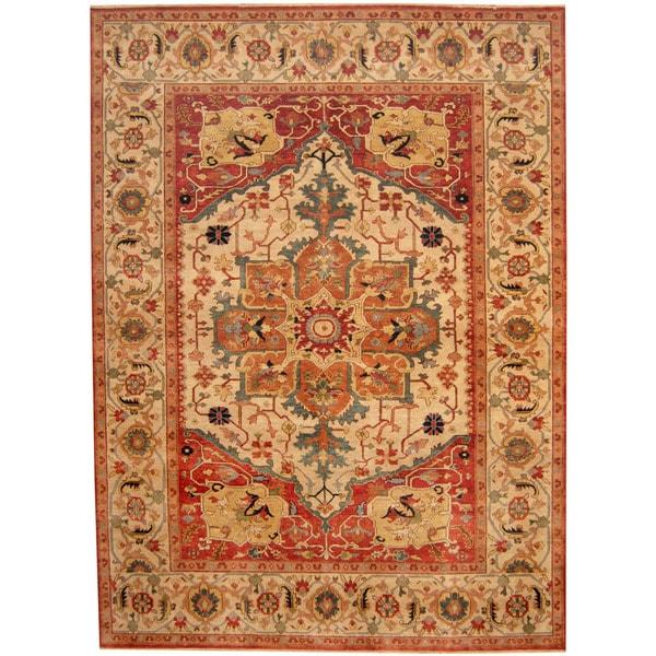 Herat Oriental Indo Hand-knotted Tribal Serapi Wool Rug - 8'9 x 11'10