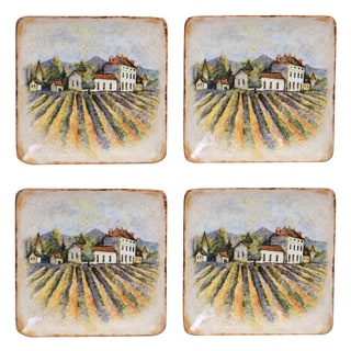 Certified International Sanctuary Wine 6-inch Canape Plates (Set of 4) Assorted Designs