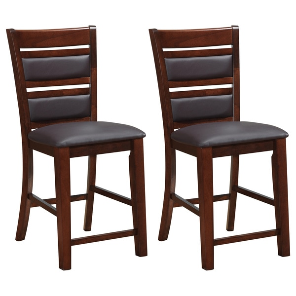 chocolate brown bonded leather counter height dining chairs set of 2