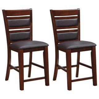 CorLiving Chocolate Brown Bonded Leather Counter Height Dining Chairs (Set of 2)