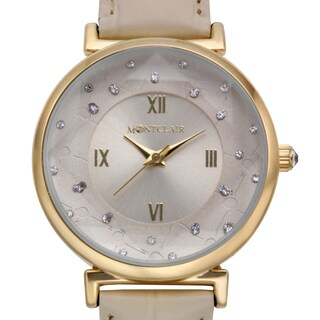 Montclair Women's Aleutian Beige Leather Stainless Steel Textured Chapter Wing Watch
